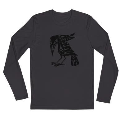 Raven - Long Sleeve Fitted Crew | Salish.Design: Coast Salish Art Clothing