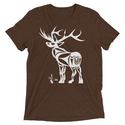 Elk - Tri-Blend Unisex T-Shirt | Salish.Design: Coast Salish Art Clothing