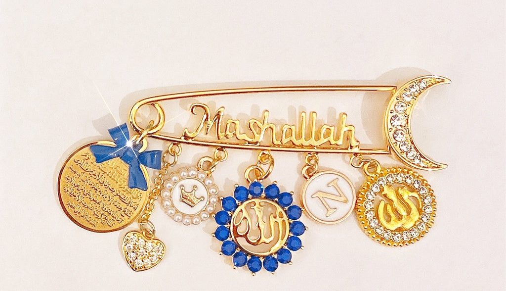 Mashallah customized initial pin in blue