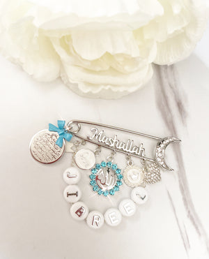 Customized Silver mashallah pin with beaded name