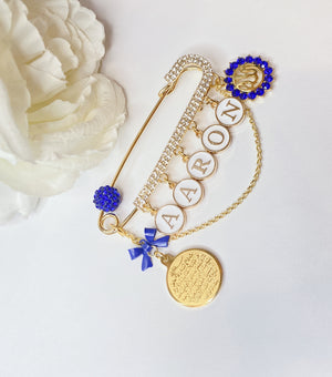 Customized name pin in gold and royal blue