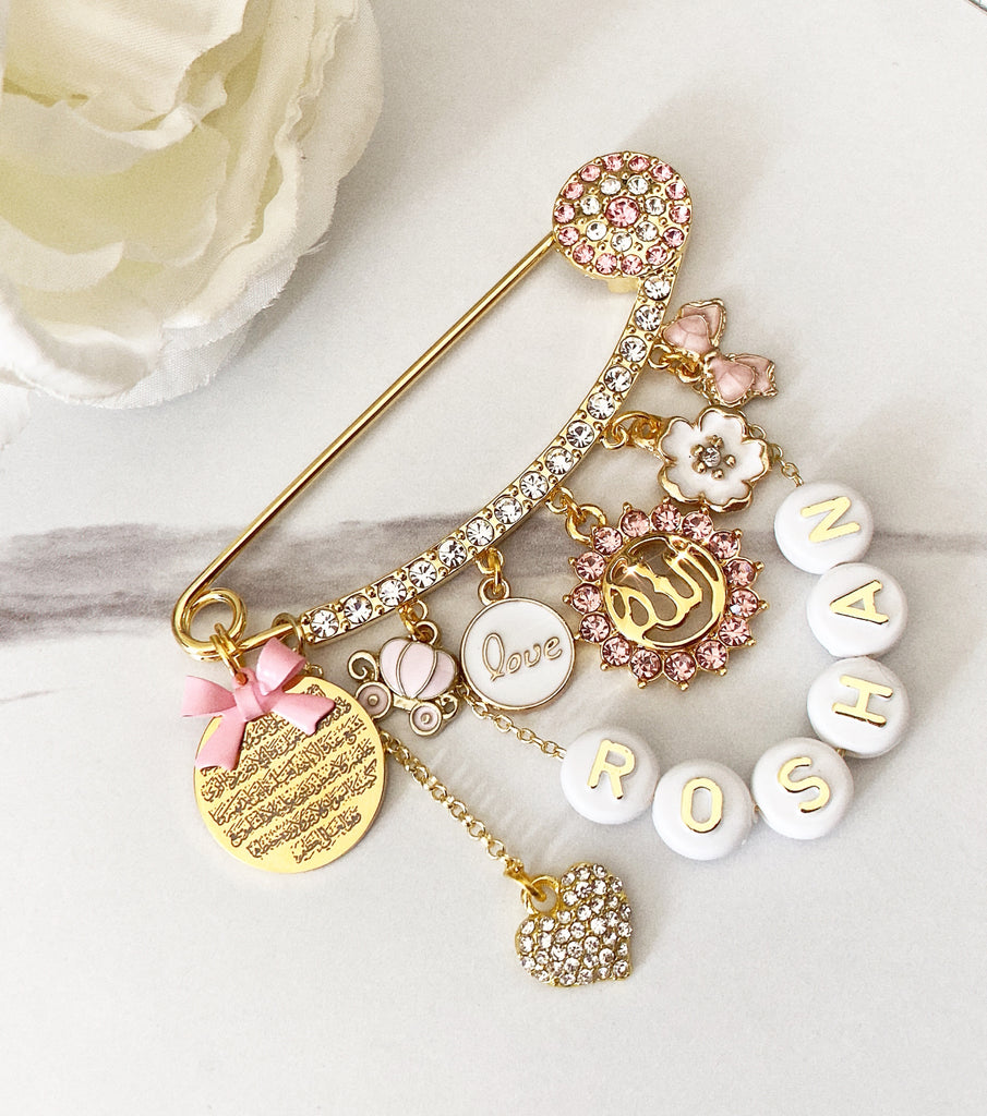 Customized pin with beaded name for girl
