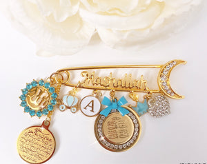 Mashallah pin in light blue with 4 qul and ayat Kursi