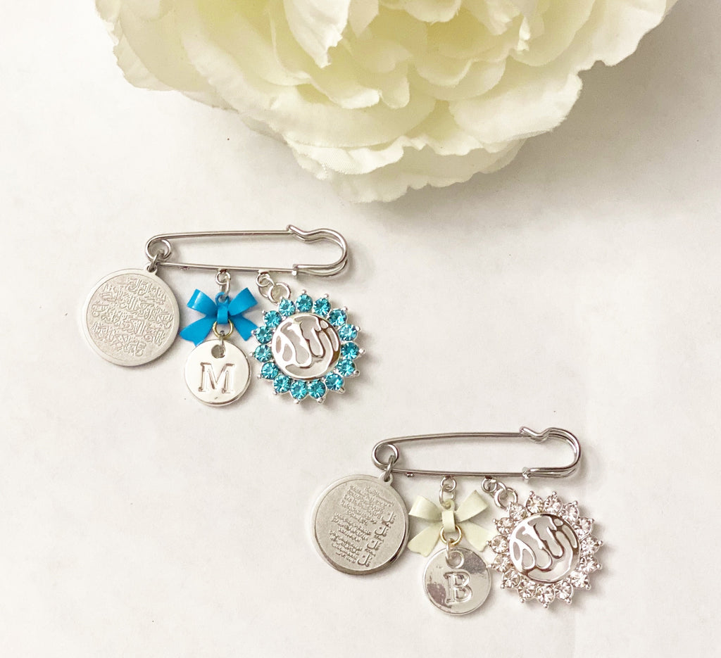 Small silver inital pin for boy in white or blue