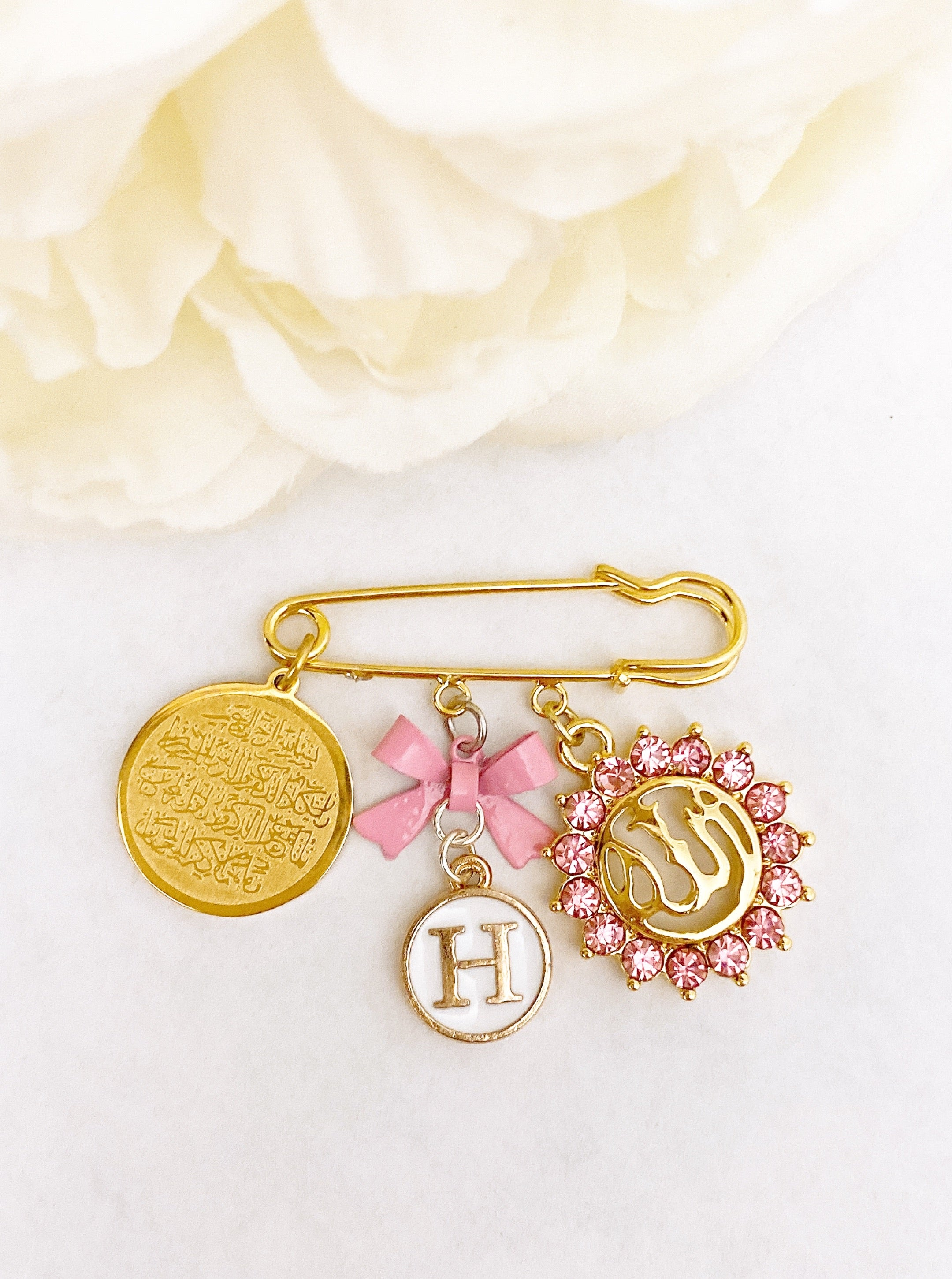Small gold initial pin for girl