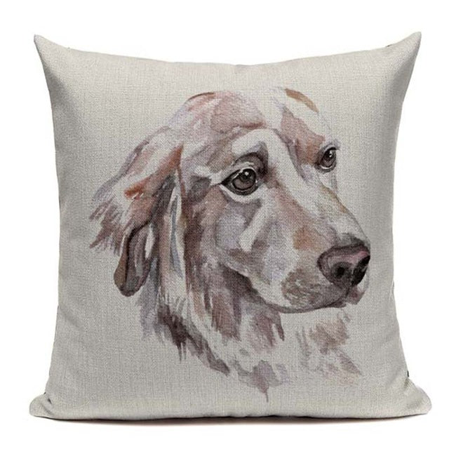 Linen Watercolor Dog pillow Covers