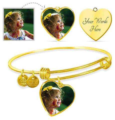 Own Photo Heart Bangle (This item can be engraved)