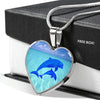 Elegant Glass Coated Dolphins Heart on a Necklace (This item can be engraved)