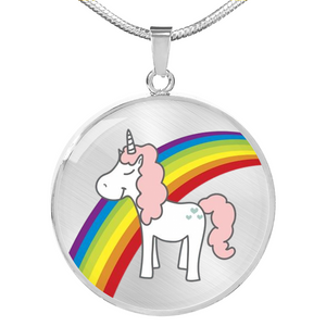 Elegant Glass Coated Rainbow Unicorn Pendant on a Necklace (This item can be engraved)