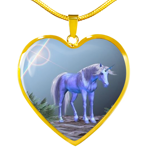 Elegant Glass Coated Unicorn Heart on a Necklace (This item can be engraved)