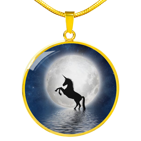 Elegant Glass Coated Unicorn Moon Pendant on a Necklace (This item can be engraved)