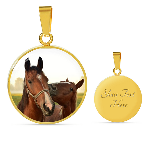 Elegant Glass Coated Horses Pendant on a Necklace (This item can be engraved)
