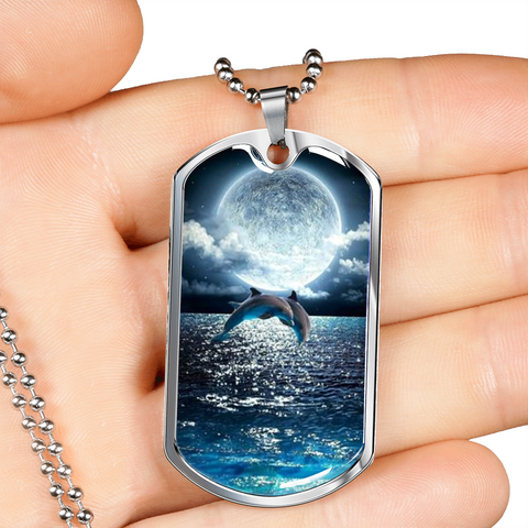 Elegant Glass Coated Dolphin Dolphmoon Dog Tag (This item can be engraved)