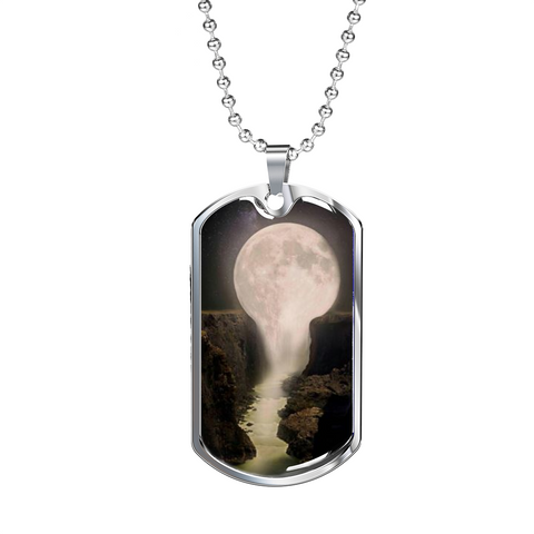 Elegant Glass Coated Moon River Dog Tag (This item can be engraved)