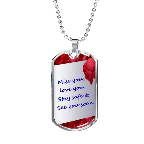 Image of Elegant Glass Coated 'Miss you' Dog Tag (This item can be engraved)
