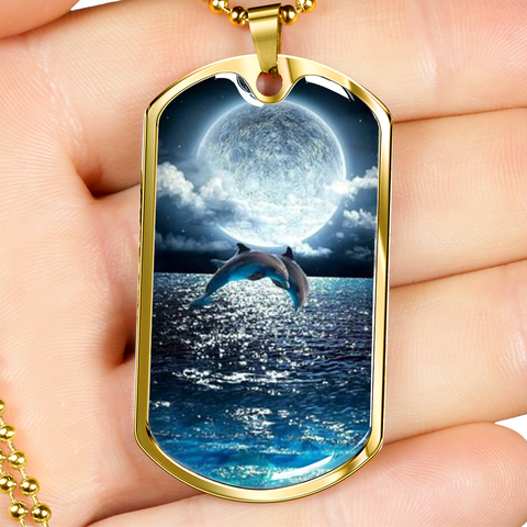 Image of Elegant Glass Coated Dolphin Dolphmoon Dog Tag (This item can be engraved)