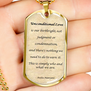Elegant Glass Coated Unconditional Love Dog Tag (This item can be engraved)