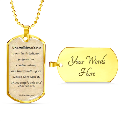 Image of Elegant Glass Coated Unconditional Love Dog Tag (This item can be engraved)