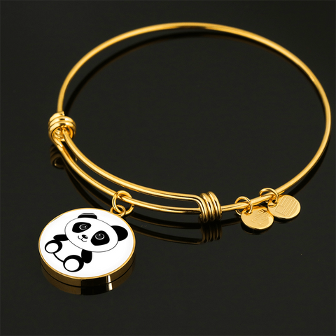 Elegant Glass Coated Panda Pendant on a Bangle (This item can be engraved)