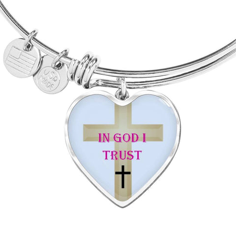 Elegant Glass Coated Heart on a Bangle (This item can be engraved)
