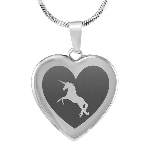Elegant Laser Engraved Stainless Steel Unicorn Heart Necklace