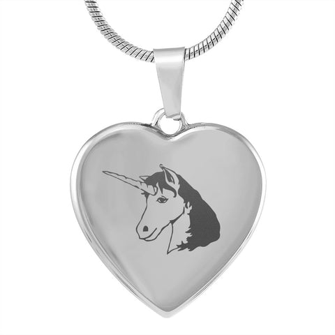 Elegant Laser Engraved Unicorn Head Stainless Steel Plated Heart Necklace