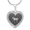 Elegant Laser Engraved Stainless Steel Horse Heart Necklace