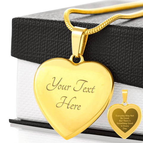 Elegant Laser Engraved Gold Plated Heart Quote Necklace (This item can be engraved)