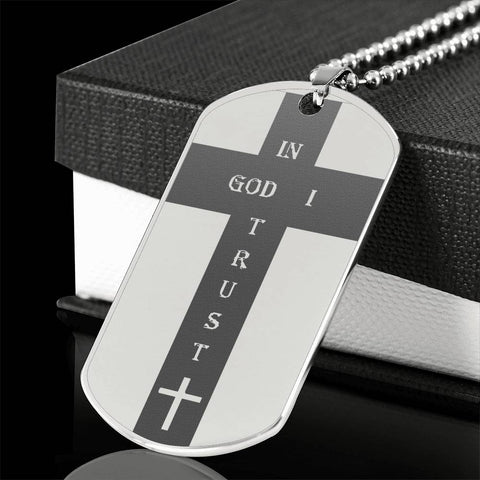 Elegant Laser Engraved Cross Stainless Steel Dog Tag