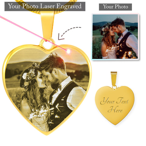 Beautiful Own Photo Etched Heart Necklace (This item can be engraved)