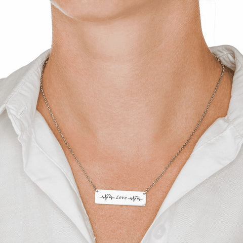 Trendy Laser Engraved Horizontal Double Hear Beat Bar Necklace