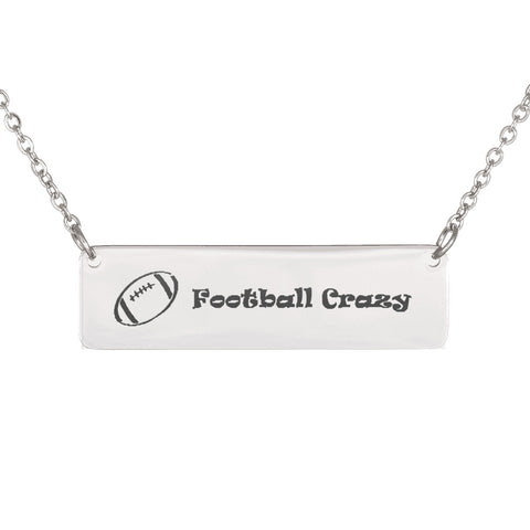 Trendy Laser Engraved Horizontal American Football Crazy Bar Necklace