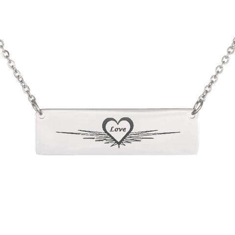 Trendy Laser Engraved Horizontal Love Star Bar Necklace
