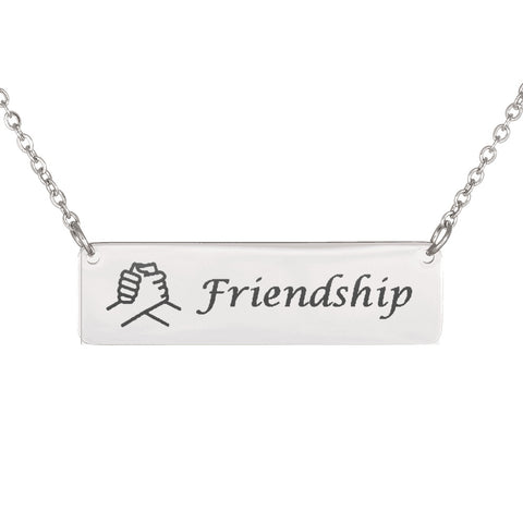 Trendy Laser Engraved Horizontal Bar Friendship Necklace