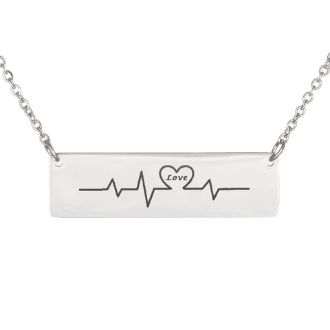 Trendy Laser Engraved Horizontal Love Heartbeat Bar Necklace