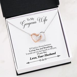Interlocking Hearts necklace Message to Wife