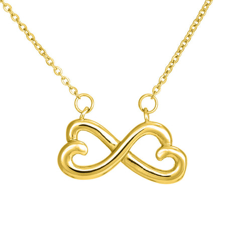 Image of Two Connected Hearts Infinity Necklace
