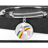 Elegant Glass Coated Rainbow Unicorn Pendant on a Bangle (This item can be engraved)