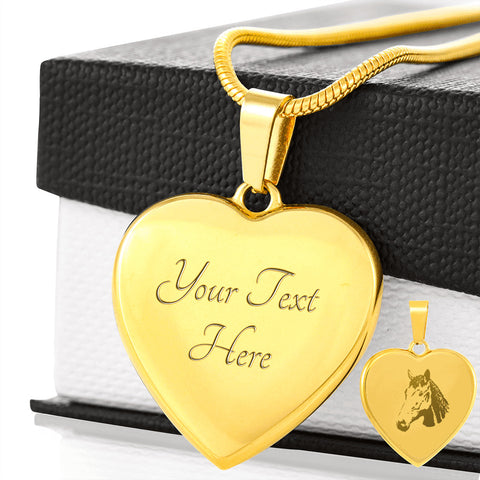 Elegant Laser Engraved Stainless Steel / Gold Plated Horses Head Heart Necklace