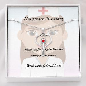 A symbolic and thoughtful pendant necklace with chain to show you care - Nurses are Awesome.