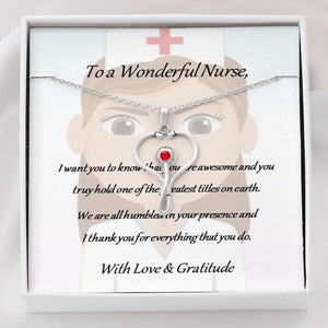 A symbolic and thoughtful pendant necklace with chain to show you care - Wonderful Nurse.