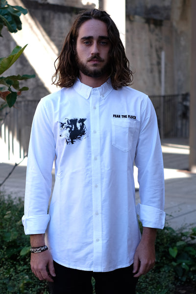 KINOTO PREMIUM ELEVATED SOPHISTICATED INDEPENDENT ALTERNATIVE STREETWEAR APPAREL CLOTHING AUSTRALIA FEAR THE FLOCK BUTTONED BUTTON UP LONG SLEEVE SHIRT