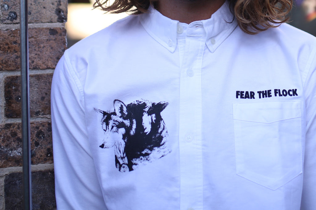 KINOTO PREMIUM ELEVATED SOPHISTICATED INDEPENDENT ALTERNATIVE STREETWEAR APPAREL CLOTHING AUSTRALIA FEAR THE FLOCK WHITE BUTTON UP BUTTONED LONG SLEEVE SHIRT