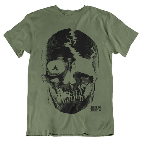 Death Skull Military Green Tee - Men's Size Large