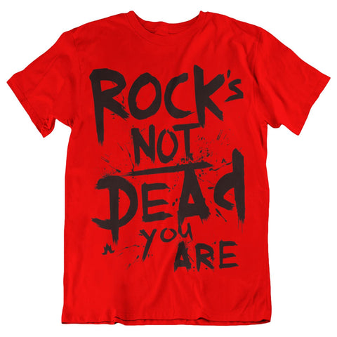 Rock's Not Dead Black Print Red Tee - Men's Size Medium
