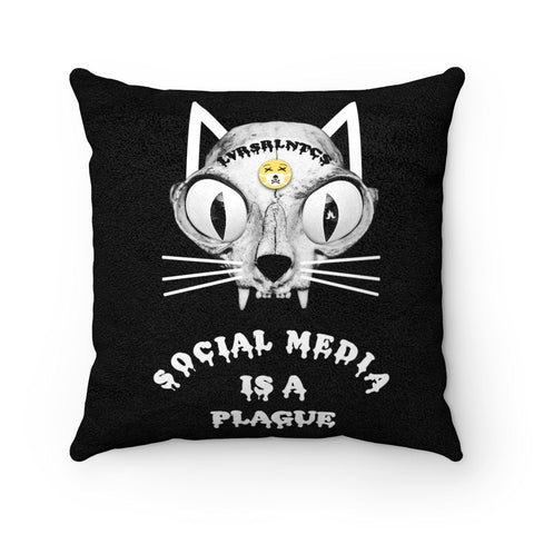Social Media Is A Plague - Faux Suede Square Pillow - 4 Size Options