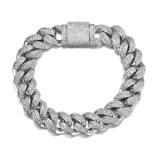 12MM Cuban Bracelet - Silver