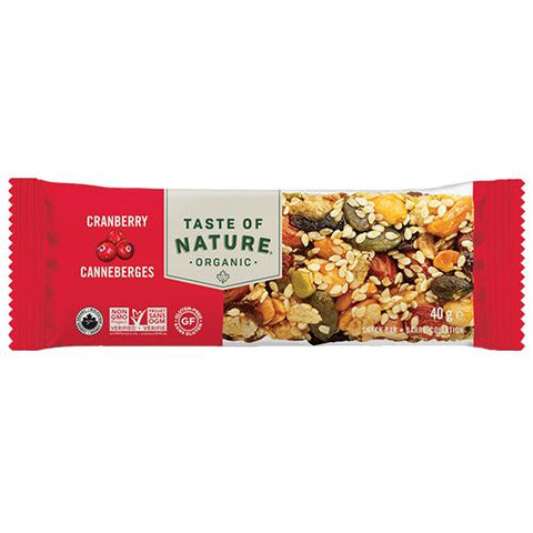 Energy Bar, Cranberry, Taste Of Nature 40g