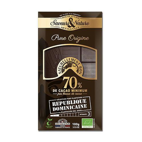 Organic Chocolate, 70% Cocoa, Saveur & Nature 100g