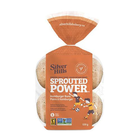 Hamburger Buns, Sprouted Whole Grain, Silver Hills 520g